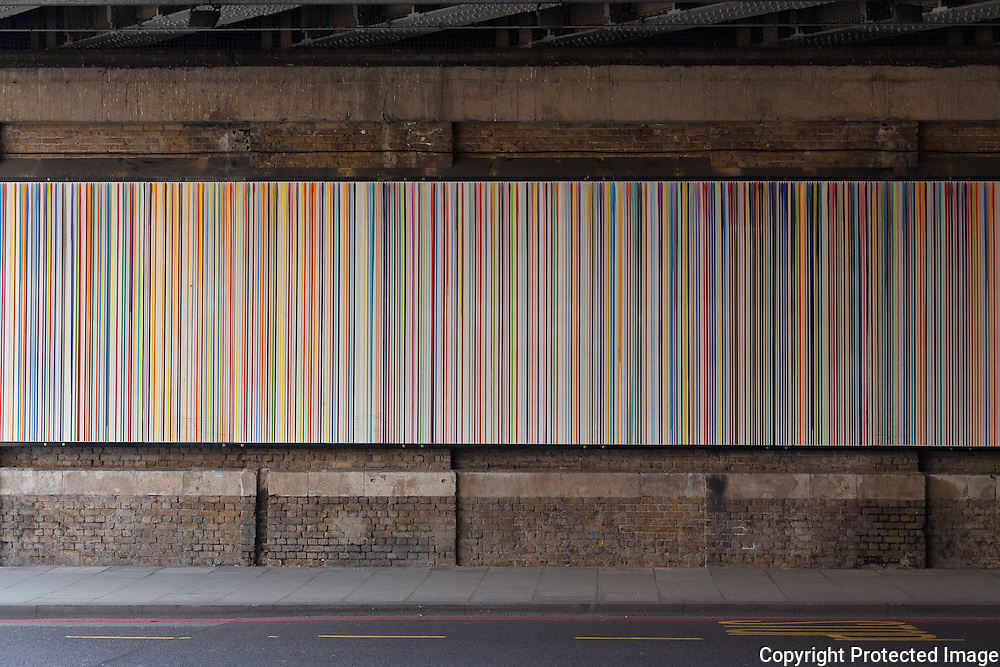 "Ian Davenport ""Poured Lines: Southwark"", Liquid enamel on steel, 2006. Southwark Bridge, London"