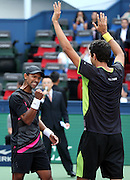 18.10.2015. Shanghai, China.  Raven Klaasen (L) of South Africa celebrates with Marcelo Melo of Brazil after winning the mens doubles final match against Simone Bolelli and Fabio Fognini of Italy at the 2015 ATP Tennis Herren World Tour Masters 1000 in Shanghai, east China, on Oct. 18, 2015.