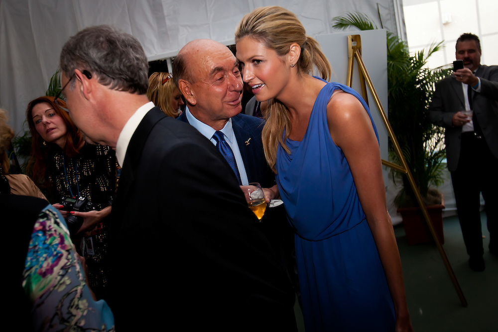 SARASOTA, FL -- May 20, 2011 -- ESPN sportscasters Dick Vitale, left, and Erin Andrews, right, chat during the 6th Annual Dick Vitale Gala at the Ritz-Carlton Sarasota on May 20, 2011.  Money raised goes to the V Foundation for cancer research.   (PHOTO / CHIP LITHERLAND)