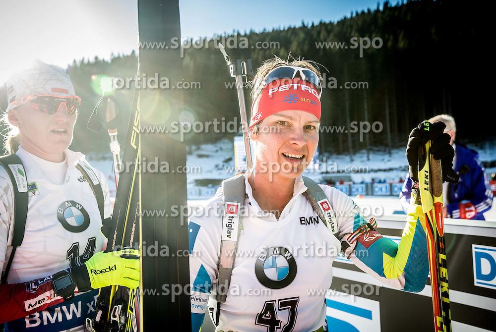 Teja Gregorin (SLO) in finish area during Women 10 km Pursuit at day 3 of IBU Biathlon World Cup 2015/16 Pokljuka, on December 19, 2015 in Rudno polje, Pokljuka, Slovenia. Photo by Vid Ponikvar / Sportida