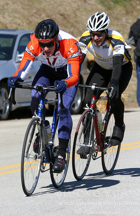 Elliott Woods leads a Towson rider in the Men's B race at the 2006 Navy Criterium.