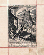 Building of Tower of Babel. Bible: Genesis 2. Bricks fired in on-site kilns, in foreground masons are working blocks of stone. Copperplate engraving of 1716.