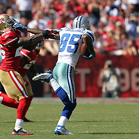 Dallas Cowboys wide receiver Kevin Ogletree (85) makes a catch against San Francisco 49ers cornerback Tarell Brown (25)  during an NFL football game between the Dallas Cowboys and the San Francisco 49ers at Candlestick Park on Sunday, Sept. 18, 2011 in San Francisco, CA   (Photo/Alex Menendez)