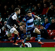 Aled Summerhill of Cardiff Blues under pressure from George North of Ospreys<br /> <br /> Photographer Simon King/Replay Images<br /> <br /> Guinness PRO14 Round 21 - Cardiff Blues v Ospreys - Saturday 27th April 2019 - Principality Stadium - Cardiff<br /> <br /> World Copyright © Replay Images . All rights reserved. info@replayimages.co.uk - http://replayimages.co.uk