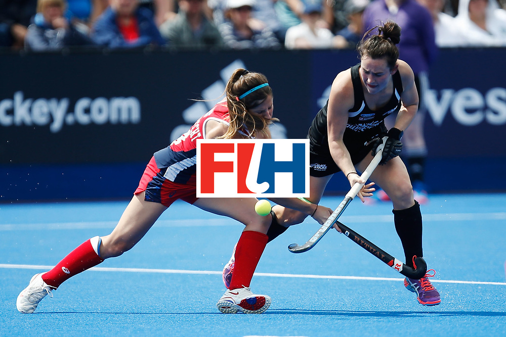 LONDON, ENGLAND - JUNE 25:  Katie Reinprecht of the USA and Kelsey Smith of New Zealand battle for the ball during the FIH Women's Hockey Champions Trophy 2016 match between the USA and New Zealand at Queen Elizabeth Olympic Park on June 25, 2016 in London, England.  (Photo by Joel Ford/Getty Images)