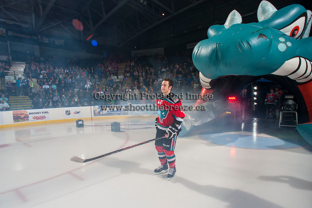 KELOWNA, CANADA - SEPTEMBER 21:  Jesse Lees #2 of the Kelowna Rockets enters the ice during the regular season home opener against the Kamloops Blazers at the Kelowna Rockets on September 21, 2013 at Prospera Place in Kelowna, British Columbia, Canada (Photo by Marissa Baecker/Shoot the Breeze) *** Local Caption ***