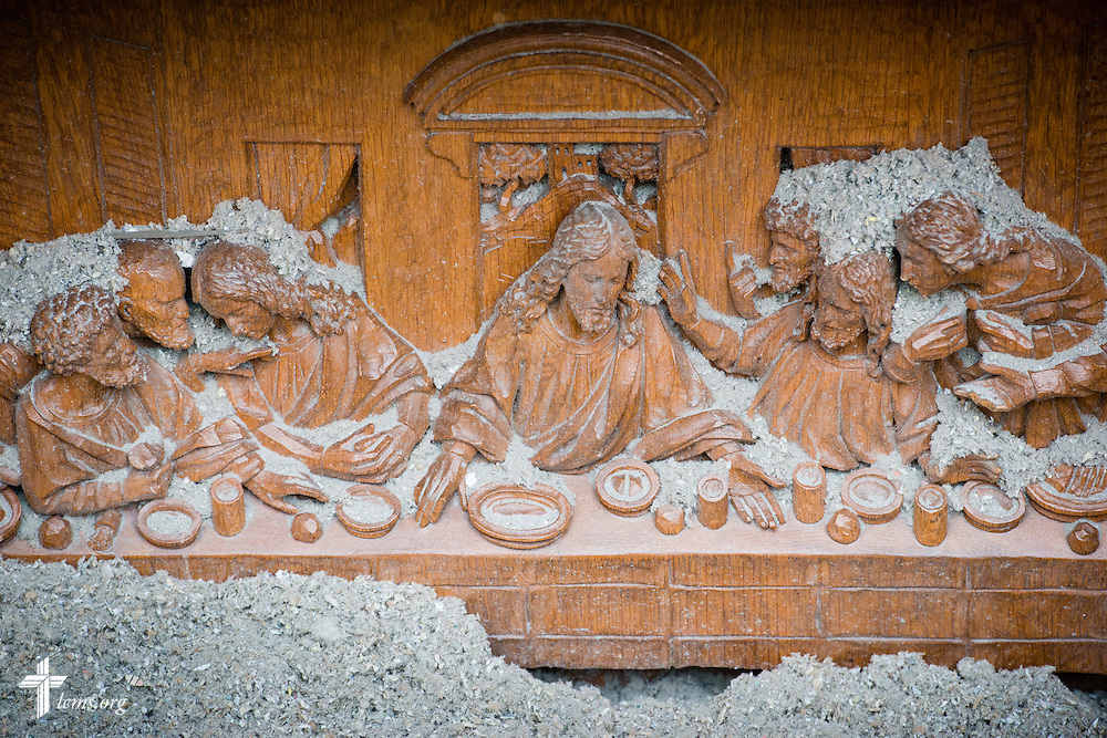 The altar relief at Zion Lutheran Church on Monday, May 11, 2015, in Delmont, S.D. A tornado swept through the area on Sunday and destroyed the church along with nearby buildings. LCMS Communications/Erik M. Lunsford
