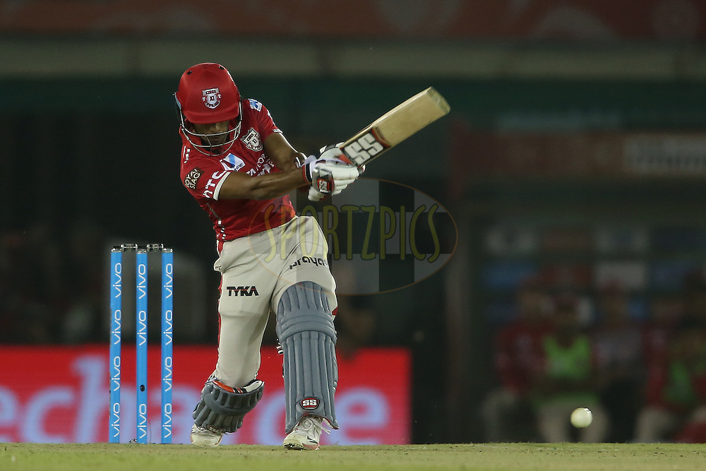 Wriddhiman Saha of Kings XI Punjab attacks a delivery during match 3 of the Vivo Indian Premier League (IPL) 2016 between the Kings XI Punjab and the Gujarat Lions held at the IS Bindra Stadium, Mohali, India on the 11th April 2016<br /> <br /> Photo by Shaun Roy/ IPL/ SPORTZPICS