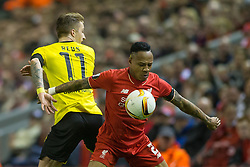 14.04.2016, Anfield Road, Liverpool, ENG, UEFA EL, FC Liverpool vs Borussia Dortmund, Viertelfinale, Rueckspiel, im Bild Marco Reus (Borussia Dortmund #11) im Zweikampf gegen Nathaniel Clyne (FC Liverpool #2) // during the UEFA Europa League Quaterfinal, 2nd Leg match between FC Liverpool vs Borussia Dortmund at the Anfield Road in Liverpool, Great Britain on 2016/04/14. EXPA Pictures &copy; 2016, PhotoCredit: EXPA/ Eibner-Pressefoto/ Schueler<br /> <br /> *****ATTENTION - OUT of GER*****