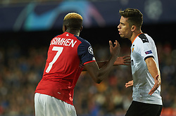 November 5, 2019, Valencia, Valencia, Spain: Gabriel Paulista of Valencia and Victor James Osimhen of Losc Lille during the during the UEFA Champions League group H match between Valencia CF and Losc Lille at Estadio de Mestalla on November 5, 2019 in Valencia, Spain (Credit Image: © AFP7 via ZUMA Wire)