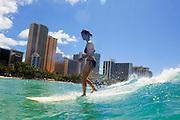 Surfer, Waikiki Beach, Honolulu, Oahu, Hawaii