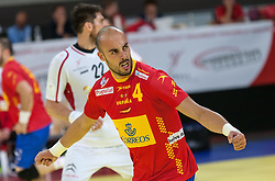 10.06.2015, Olympiahalle, Innsbruck, AUT, EHF Euro Qualifikation, Gruppe 7, Österreich vs Spanien, im Bild Albert Rocas Comas (ESP) Beim Jubel nach einem Tor // during the EHF Euro Qualifikation group 7 match between Austria and Spain at Olympiahalle, Innsbruck, Austria on 2015/06/10. EXPA Pictures © 2015, PhotoCredit: EXPA/ Jakob Gruber