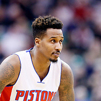 25 January 2016: Detroit Pistons guard Brandon Jennings (7) rests during the Detroit Pistons 95-92 victory over the Utah Jazz, at the Vivint Smart Home Arena, Salt Lake City, Utah, USA.