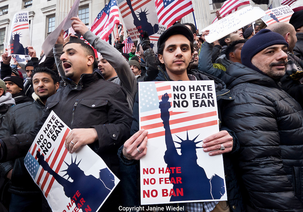 Over 1000 Yemeni grocery stores and bodegas in New York City closed in protest to Donald Trumps ban on immigration from Yemen and 6 more Muslim nations.  Protest and prayer outside Borough House Brooklyn New York City USA Feb 2, 2017