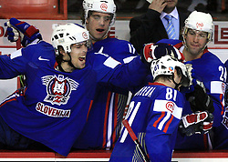 David Rodman, Anze Kopitar, Marjan Manfreda (scored first goal for SLO) and Anze Terlikar of Slovenia at ice-hockey game Slovenia vs Slovakia at second game in  Relegation  Round (group G) of IIHF WC 2008 in Halifax, on May 10, 2008 in Metro Center, Halifax, Nova Scotia, Canada. Slovakia won after penalty shots 4:3.  (Photo by Vid Ponikvar / Sportal Images)