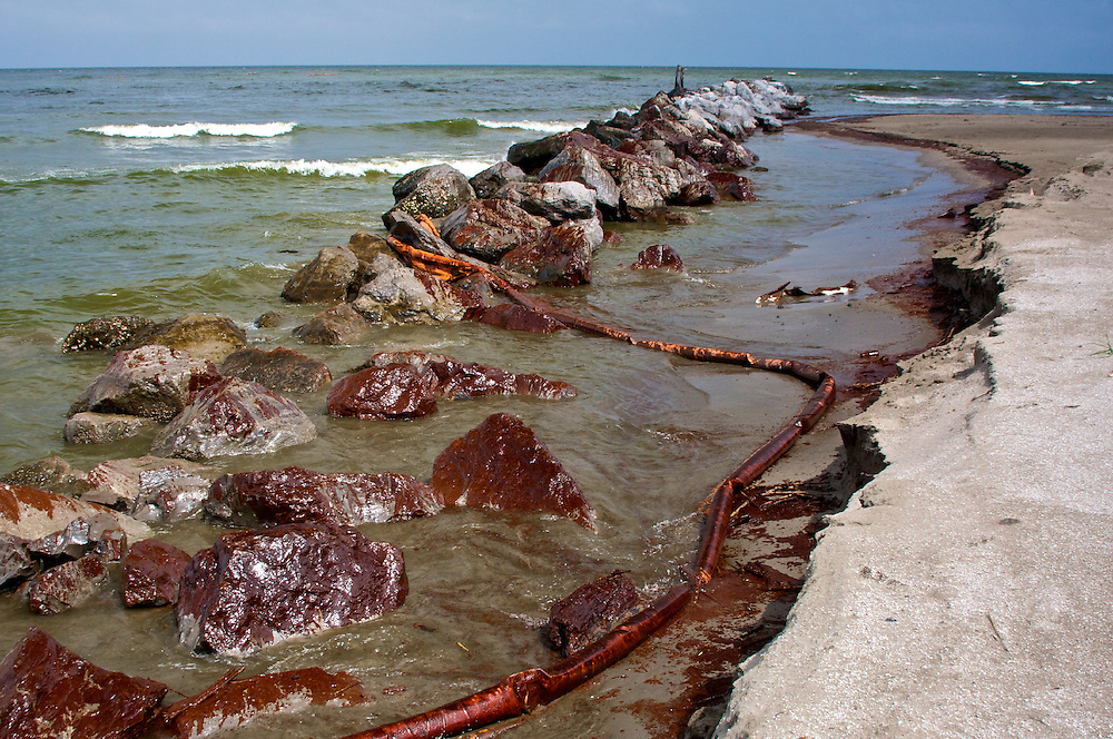 Oil washed onto a rock jetty at Grand Isle, LA on June 5, 2010.