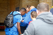 Bradford City FC players arrive on the coach and sign autographs for fans as the coach arrives during the EFL Sky Bet League 1 match between Gillingham and Bradford City at the MEMS Priestfield Stadium, Gillingham, England on 12 August 2017. Photo by Andy Walter.