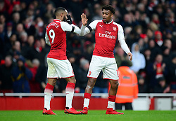 Alexandre Lacazette of Arsenal celebrates his goal with Alex Iwobi of Arsenal - Mandatory by-line: Alex James/JMP - 20/01/2018 - FOOTBALL - Emirates Stadium - London, England - Arsenal v Crystal Palace - Premier League