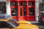 New York, Soho ; yellow cabs on broadway , street life, - United States