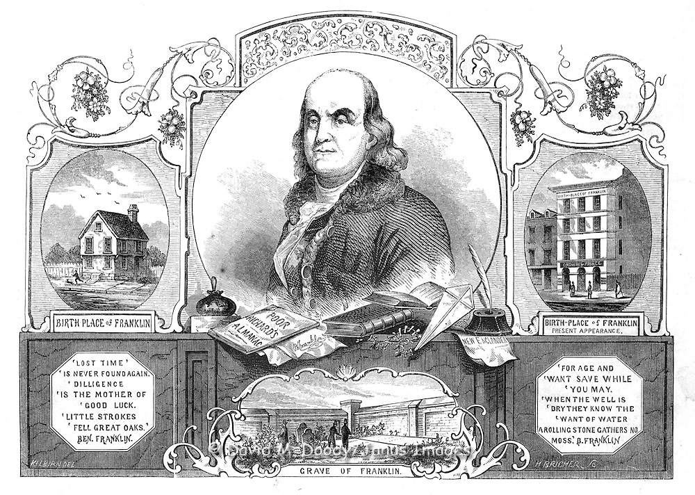 """Doctor Franklin"" Benjamin Franklin (1706-1790) Gleason's Pictorial from Gleason's Illustrated 1854   House where Franklin was born on Milk Street in Boston 1706. Poor Richard's Almanack, Kite, Printer's Ink Ball, Franklin's Grave in Philadelphia."