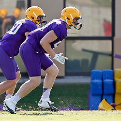 Aug 8, 2013; Baton Rouge, LA, USA; LSU Tigers linebacker Grant Leger (53) and linebacker Christian Pittman (50) a during a fall practice at the McClendon Practice Facility. Mandatory Credit: Derick E. Hingle-USA TODAY Sports