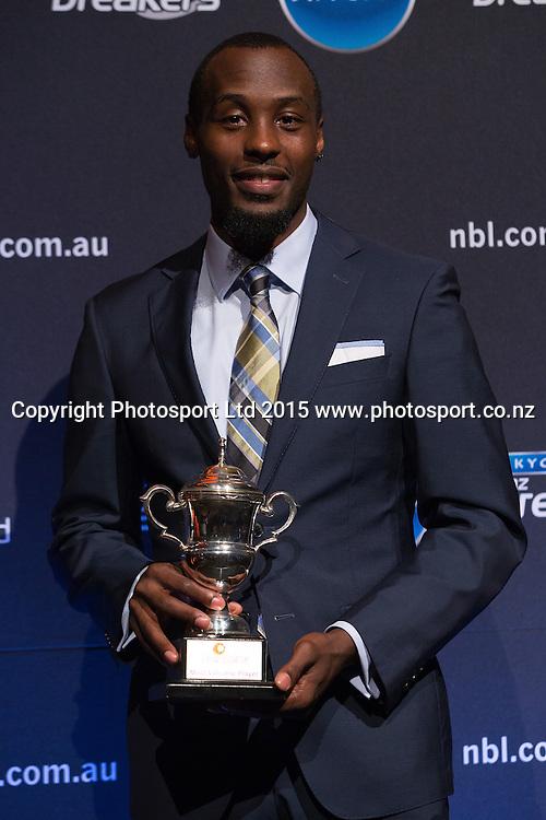 Cedric Jackson with the MVP Award at the SkyCity Breakers Awards, 2014-15, SkyCity Convention Centre, Auckland, New Zealand, Friday, March 20, 2015. Copyright photo: David Rowland / www.photosport.co.nz