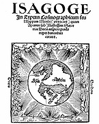 Peter Apian (Petrus Apianus 1495-1552) German mathematician and astronomer. Title page of his 'Isagoge in Typum Cosmographicum seu Mappam Mundi', Landshut, 1523, showing three continents only, Europe, Africa and Asia, surrounded by the 4 elements, Earth,