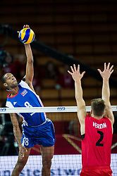 10.09.2014, Centennial Hall, Breslau, POL, FIVB WM, Kuba vs Kanada, 2. Runde, Gruppe F, im Bild Rolando Cepeda Abreu cuba #8 John Gordon Perrin canada #2 // Rolando Cepeda Abreu cuba #8 John Gordon Perrin canada #2 during the FIVB Volleyball Men's World Championships 2nd Round Pool F Match beween Cuba and Canada at the Centennial Hall in Breslau, Poland on 2014/09/10. EXPA Pictures © 2014, PhotoCredit: EXPA/ Newspix/ Sebastian Borowski<br /> <br /> *****ATTENTION - for AUT, SLO, CRO, SRB, BIH, MAZ, TUR, SUI, SWE only*****