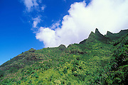 Lush tropical canyons and spires along the Kalalau Trail on the North Shore, Na Pali Coast, Kauai, Hawaii