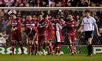 Photo: Jed Wee.<br /> Middlesbrough v Charlton Athletic. The FA Cup. 12/04/2006.<br /> <br /> Middlesbrough celebrate their third goal.