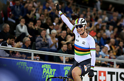 Kirsten Wild of Netherlands celebrates after winning the Women's Omnium Points race 4/4 during day two of the Tissot UCI Track Cycling World Cup at Lee Valley VeloPark, London.