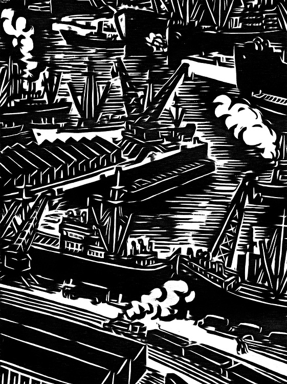 Black / white drawing of the busy transport in a harbor seen from above