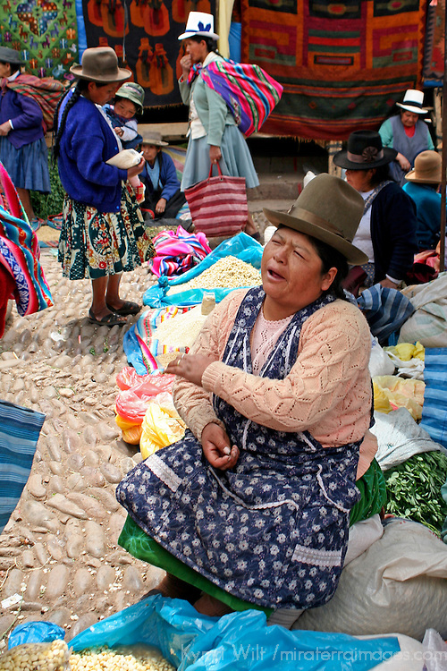 Americas, South America, Peru, Pisac. Quechua woman at Pisac Market.