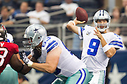 DALLAS, TX - SEPTEMBER 23:  Tony Romo #9 of the Dallas Cowboys throws a pass against the Tampa Bay Buccaneers at Cowboys Stadium on September 23, 2012 in Dallas, Texas.  The Cowboys defeated the Buccaneers 16-10.  (Photo by Wesley Hitt/Getty Images) *** Local Caption *** Tony Romo