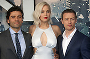 May 9, 2016 -   Oscar Isaac, Jennifer Lawrence and James McAvoy attending 'X-Men Apocalypse' Global Fan Screening at BFI Imax in London, UK.<br /> ©Exclusivepix Media