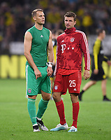 FUSSBALL 1. BUNDESLIGA   SAISON 2019/2020   SUPERCUP FINALE Borussia Dortmund - FC Bayern Muenchen    03.08.2019 Enttaeuschung FC Bayern Muenchen; Torwart Manuel Neuer (li) und Thomas Mueller nach dem Spiel DFL regulations prohibit any use of photographs as image sequences and/or quasi-video.