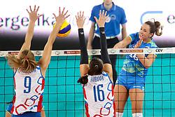 Monika Potokar of Slovenia vs Jaroslava Pencova of Slovakia and Paula Kubova of Slovakia during volleyball match between Slovenia and Slovakia in CEV European League Women on June 22, 2016 in Stozice, Ljubljana, Slovenia. Photo by Morgan Kristan / Sportida
