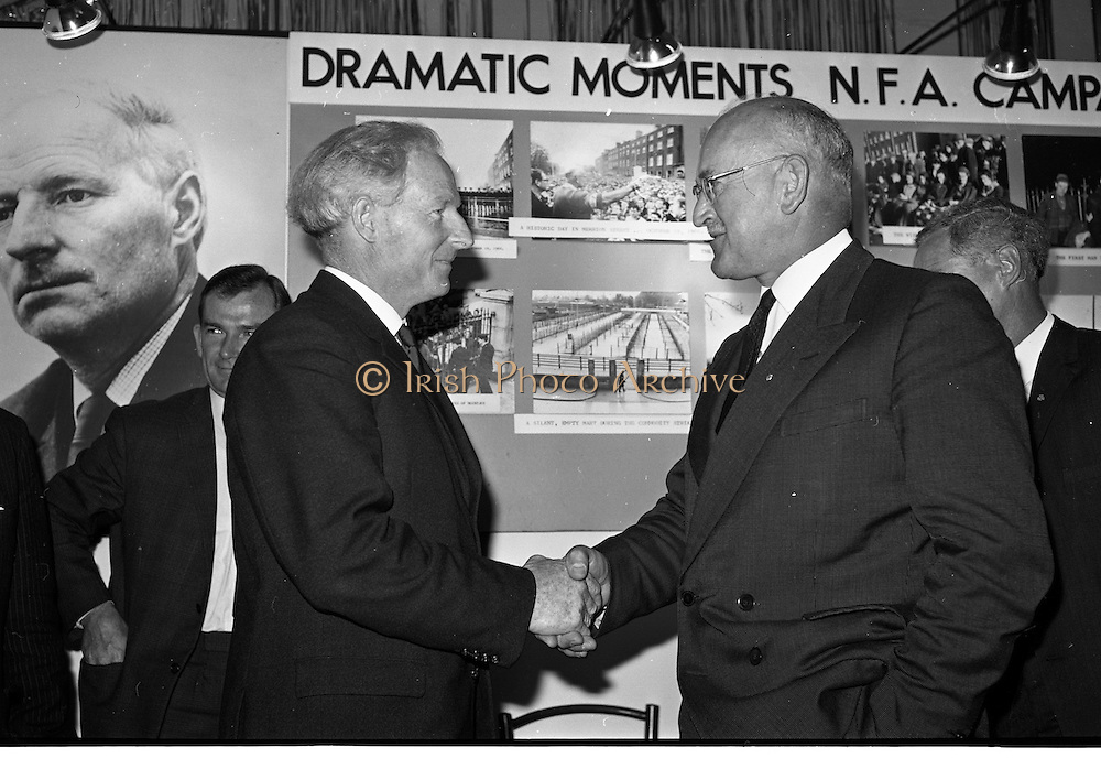 02/08/1967<br /> 08/02/1967<br /> 02 August 1967<br /> New president takes office at National Farmers Association meeting at Adelaide Hall, Dublin. Picture shows Mr. Richard Deasy (right) outgoing President of the NFA congratulating the new President Mr. Thomas P. Maher.