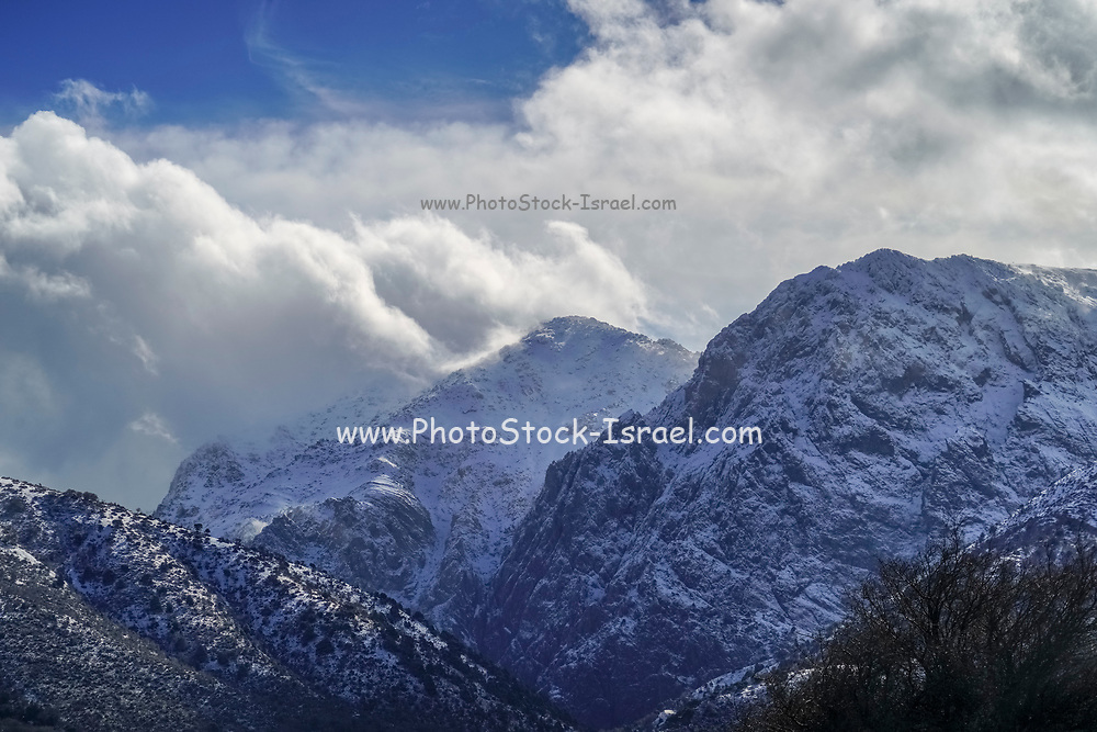 snowscape at Lassithi Plateau, Crete Island, Greece