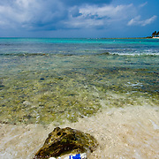 Pollution. bottle floating on the ocean. Bay of Paamul. Quintana Roo. Mexico.