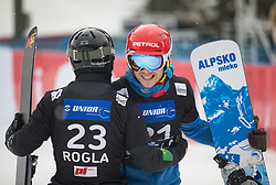 Mastnak Tim and Košir Žan during the men's Snowboard giant slalom of the FIS Snowboard World Cup 2017/18 in Rogla, Slovenia, on January 21, 2018. Photo by Urban Meglic / Sportida