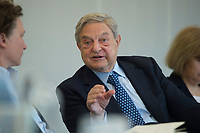 11 APR 2012, BERLIN/GERMANY:<br /> George Soros, Investor, 10. Treffen der Engagierten Europaeer, Projektzentrum Berlin, Stiftung Mercator<br /> IMAGE: 20120411-01-099