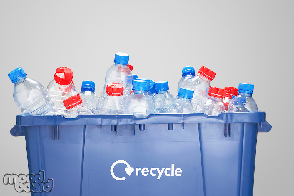 Recycling container filled with empty plastic bottles