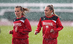 New Bristol City Women signing Charlie Estcourt warms up in the rain - Mandatory by-line: Robbie Stephenson/JMP - 25/06/2016 - FOOTBALL - Stoke Gifford Stadium - Bristol, England - Bristol City Women v Oxford United Women - FA Women's Super League 2