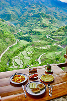 Breakfast rice paddy terrace fields between banaue and batad infugao Luzon in Philippines