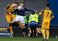 Football - 2018 / 2019 Emirates FA Cup - Sixth Round, Quarter Final : Millwall vs. Brighton<br /> <br /> Millwall push from the start as Alireza Jahanbakhsh (Brighton & Hove Albion) is forced to clear from Lee Gregory (Millwall FC) at The Den.<br /> <br /> COLORSPORT/DANIEL BEARHAM