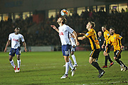 Tottenham Hotspur  Fernando Llorente (18) headers the ball to flick it on  during the The FA Cup 4th round match between Newport County and Tottenham Hotspur at Rodney Parade, Newport, Wales on 27 January 2018. Photo by Gary Learmonth.