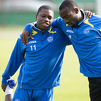 St Johnstone Training.....04.10.12 Nigel Hasselbaink and Gregory Tade pictured in traing this moring ahead of Saturday's game against Hasselbaink's old club St Mirren<br /> Picture by Graeme Hart.<br /> Copyright Perthshire Picture Agency<br /> Tel: 01738 623350  Mobile: 07990 594431