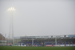 HARTLEPOOL, ENGLAND - Friday, April 22, 2011: On the hottest day of the year so far mist from the North Sea rolls into Victoria Park as Hartlepool United take on Tranmere Rovers during the Football League One match. (Photo by David Rawcliffe/Propaganda)