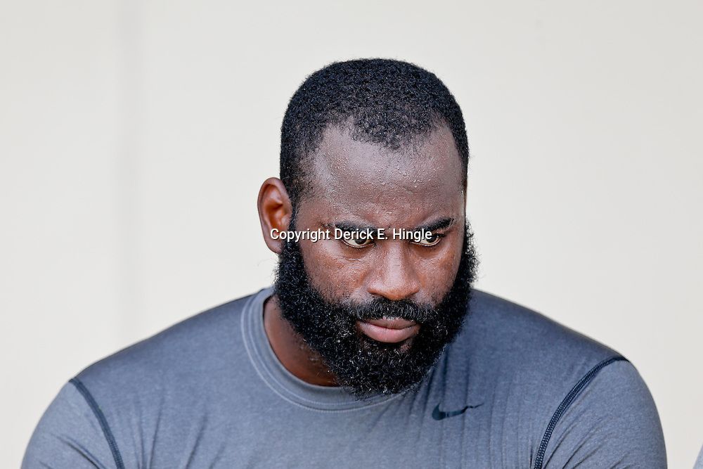 Aug 3, 2013; Metairie, LA, USA; New Orleans Saints linebacker Junior Galette (93) following a scrimmage at the team training facility. Mandatory Credit: Derick E. Hingle-USA TODAY Sports